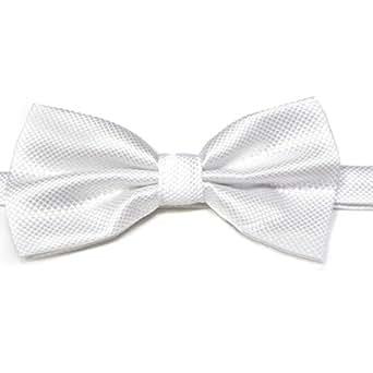 Cravate Pré Liée Nouveau Hommes Pur Papillon Polyester Mariage Multicolore (Blanc)