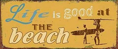 1art1-79950-strande-life-is-good-at-the-beach-poster-blechschild-31-x-13-cm