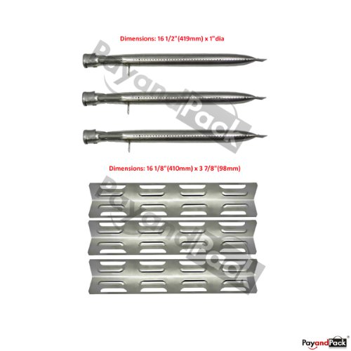 Perfect Flame Barbecue Grill Repair Kit Stainless Steel Heat Plate Burner -3Pack (Bbq Parts # 12411, 92071)