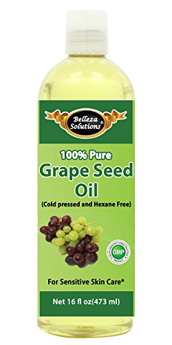 #1 Grapeseed Oil 16 OZ by Belleza Solutions - 100% Pure Cold pressed and Hexane free - No Synthetic Preservatives, Colors or Fragrances - 100% Pure Sensitive Skin Care