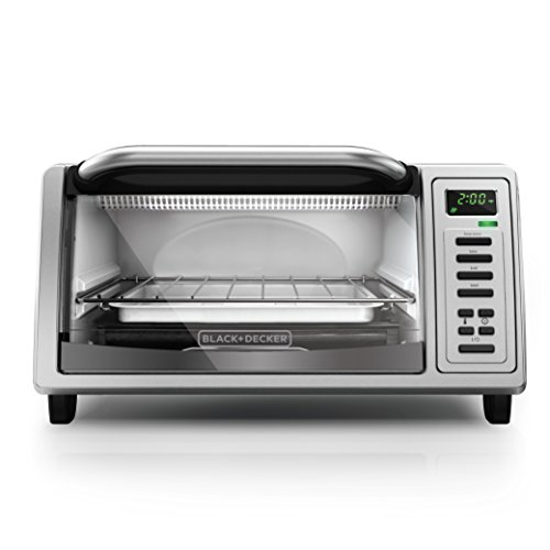 BLACK+DECKER TO1380SS 4-Slice Digital Toaster Oven, Includes Bake Pan, Broil Rack & Toasting Rack, Stainless Steel Digital Toaster Oven (Stainless Compact Toaster Oven compare prices)