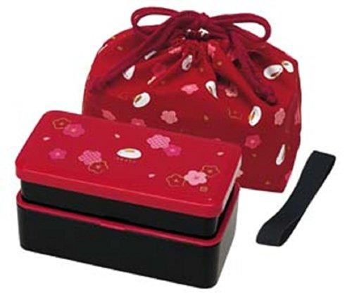 Japanese Traditional Rabbit Blossom Bento Box Set - Square 2 Tier Bento Box, Rice Ball Press, Bento Bag (Red) (Press Box Red compare prices)