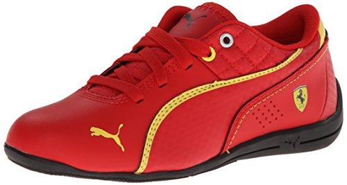 PUMA Drift Cat 6 Leather Ferrari JR Sneaker,Rosso Corsa/Rosso Corsa/Vibrant Yellow,4.5 M US Big Kid