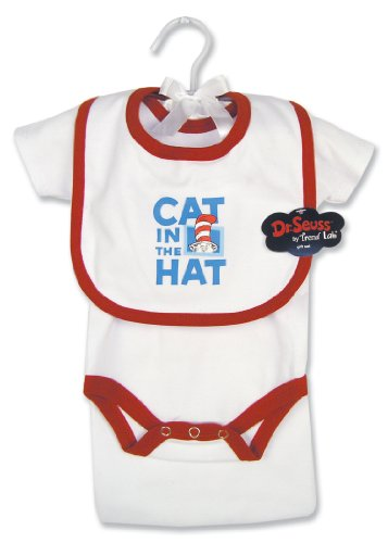 Trend Lab Dr Seuss Cat in the Hat 4 Piece Layette Gift Set, White