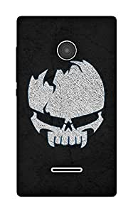 The Racoon Grip Borken Skull hard plastic printed back case / cover for Microsoft Lumia 532