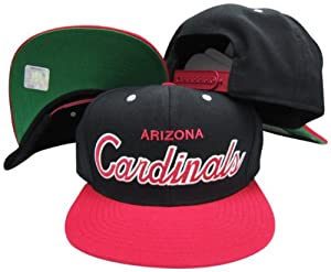 Arizona Cardinals Script Black Red Two Tone Snapback Adjustable Plastic Snap Back Hat... by adidas