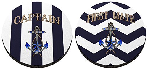 Sailing Gift Captain and First Mate Coaster Bundle 2 Pack Round Rubber Drink Cup Coasters Chevron