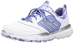 adidas Women\'s W Adistar Sport Golf Spikeless, FTWR White/Silver Metallic/Baja Blue-TMAG, 7.5 M US