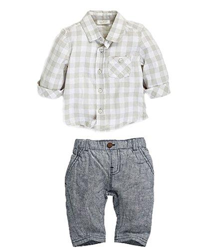 New Newborn Baby Boy Grey Waistcoat + Pants + Shirts Clothes Sets Suit 3Pcs (0-6 Month) front-161178