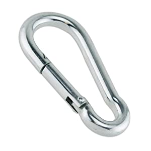 "Zinc-Galvanized Steel Carabiner Spring Snap Link Hook - Choose from 6 Sizes 40mm to 140mm - 1-1/2"" to 5-1/2"""" Link size: 60mm x 6mm"