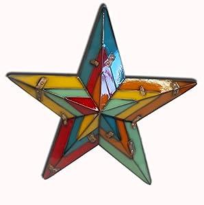 Large Metal Multi Coloured Star Wall Art by La Hacienda