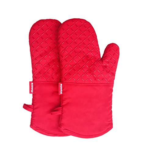 Honla 13-Inch Long Silicone Plaid Oven Mitts/Gloves,Quilted Cotton&Thick Cloth Lining,Red,1 Pair Potholders