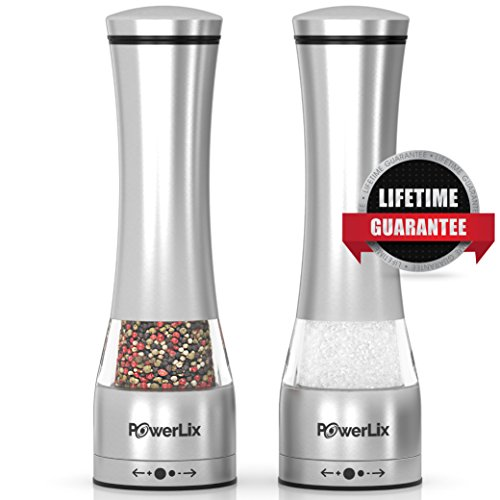 PowerLix Deluxe Stainless Steel Salt And Pepper Grinder Set- Set Of 2 Manual Mill Shakers With Adjustable Ceramic Grinder- Brushed Stainless Steel & Glass Construction- eBook Include