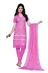 Your Choice Women's Cotton Pink Semi-Stitched Salwar Suit Dress Material With Dupatta
