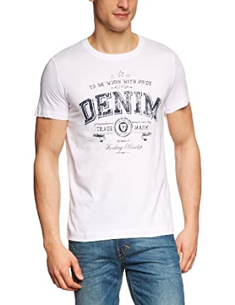 TOM TAILOR Denim Herren T-Shirt 10211780912/chest logo tee, Weiß (2000  white), Gr. 44/46 (Herstellergröße: S)