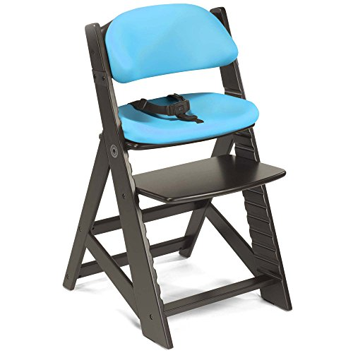 Keekaroo Height Right Kids Chair Espresso with Aqua Comfort Cushions, Espresso/ Aqua