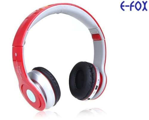 Universal Wireless Bluetooth Over-Ear Foldable Headphones With Volume, Track, Phone Call Controls, Red