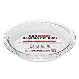 Borolux Deep Dish Pie Plate, Shatter-Resistant Borosilicate Glass Bakeware, 9.5 Inch