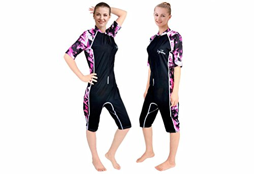 [KUTU men and women short-sleeved sun protection clothing surf clothing snorkeling wetsuit super elastic of Lycra cotton material (Ms. Pink,] (Rip Curl Swimming Costumes)