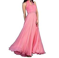 Fashion Gallery Pink Designer Velvet Gown