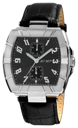 Jet Set J32144-267 - Reloj cronógrafo de cuarzo para hombre con correa de piel, color negro