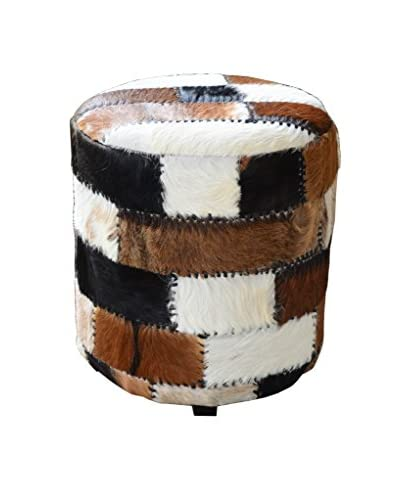 Jeffan Safari Round Stool With Leather Work, Natural