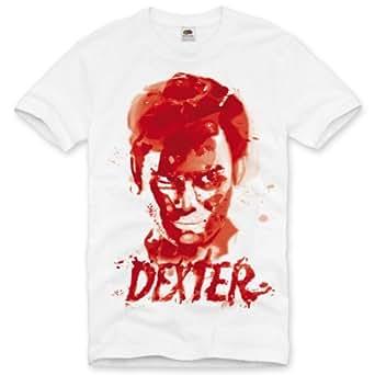 style3 Dexter Trace de Sang T-Shirt Homme TV série, Taille:S;Couleur:Blanc