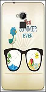 Snoogg Summer Vector Illustration With Glasses Bird Rays Ball Water Palm Tree Sun Designer Protective Back Case Cover For HTC One-Max
