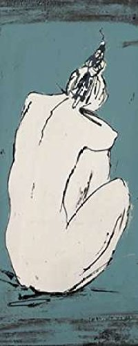 Nude Sketch on Blue I Poster Print by Patricia Pinto (24 x 48)