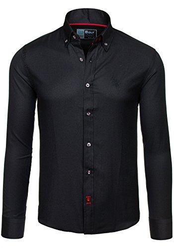 BOLF 5803 Schwarz M [2B2] Herren Langarm Herrenhemd Figurbetont Freizeit Slim
