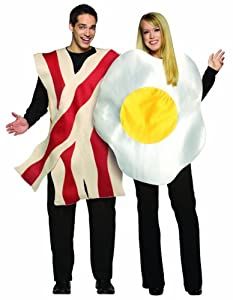 Rasta Imposta Bacon and Eggs Couples Costume, White/Brown, One Size