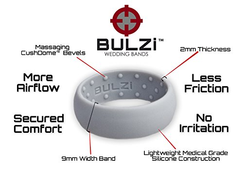 Comfort Silicone Wedding Ring BULZi Mens Premium Best Fit Active