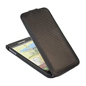 iTALKonline PREMIUM LEATHER BLACK Clip On Flip Case/Cover/Pouch For Samsung N7000 Galaxy Note