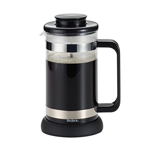 BonJour Coffee 8-Cup Riviera French Press with Coaster and Scoop, Black