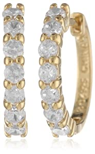 18k Yellow Gold Plated Sterling Silver Simulated Diamond Hoop Earrings (0.6