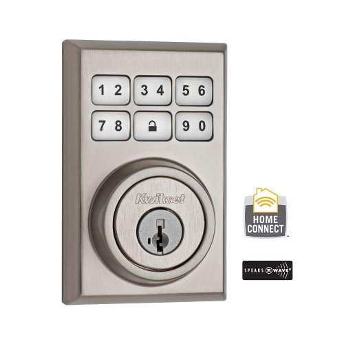 (910 Cnt Zw 15 Smt Cp) 910 Z-Wave Contemporary Single Cylinder Satin Nickel Smartcode Electronic Deadbolt Featuring Smartkey