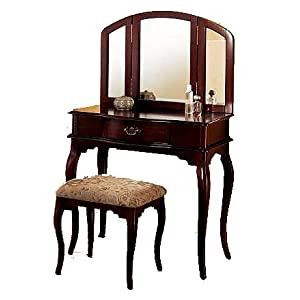 cheap queen anne style cherry wood vanity sets for sale