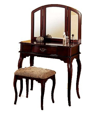 Discount queen anne style cherry finish wood vanity set for Cheap vanity table set