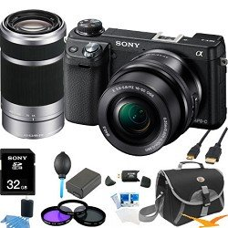 Sony NEX-6L/B NEX6 NEX-6 NEX-6L 16.1 MP Compact Interchangeable Lens Digital Camera with 16-50mm Power Zoom Lens and 3-Inch LED (Black)+ Sony 55-210mm F4.5-6.3 Lens ULTIMATE BUNDLE with 32GB High Speed Card, Spare Battery, Deluxe Filter Kit+ More!