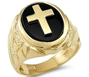 Size- 13 - Solid 14k Yellow Gold Heavy Mens Onyx Cross Large Ring