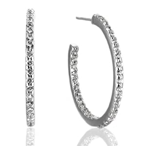 2.5 Carat White Sapphire and Sterling Silver Inside-Outside Hoop Earrings