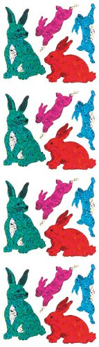 Jillson Roberts Prismatic Stickers, Rabbits, 12-Sheet Count (S7102)