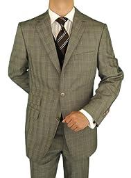 Bianco B Men\'s Suit Vested Modern Fit 3-Piece Blazer Extra Pants Total 4-Piece Window Pane Stone Gray (46 Regular US)