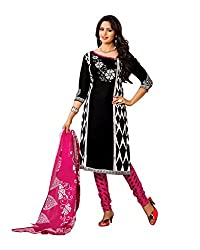 Drapes Women's Cotton Printed Unstitched Dress Material (Black)