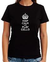Keep calm and play Cello Dame T-Shirt