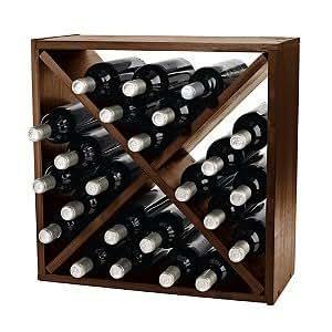 24 Bottle Compact Cellar Cube Wine Rack -Walnut