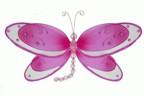 """Hanging Nylon Dragonfly Craft Nursery Bedroom Girls Room Ceiling Wall Decor, Wedding Birthday Party Baby Bridal Shower Decorations - Avery Dragonfly Butterfly Decoration - 11"""" Dark Pink front-999847"""