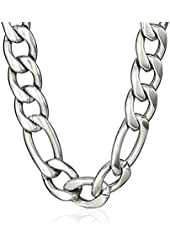 "Men's Stainless Steel 9mm Figaro Chain Bracelet and Necklace Jewelry Set, 22"" + 9"""