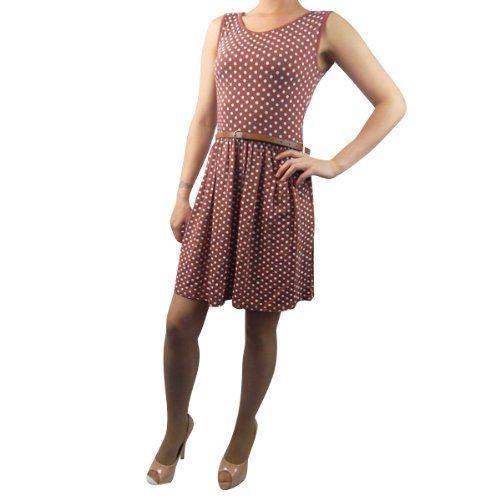 Ladies Spot Dress Sleeveless Tailored Short Party Belt Top Womens Size 8-14