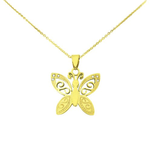 Ladies Gold Tone Stainless Steel Butterfly CZ Pendant